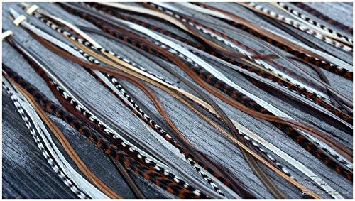 Grizzly-Extensions 5 einzelne Feder Extensions LANG Naturtöne (Sorte:Cognac) (NEU) (Microringe für blondes Haar)