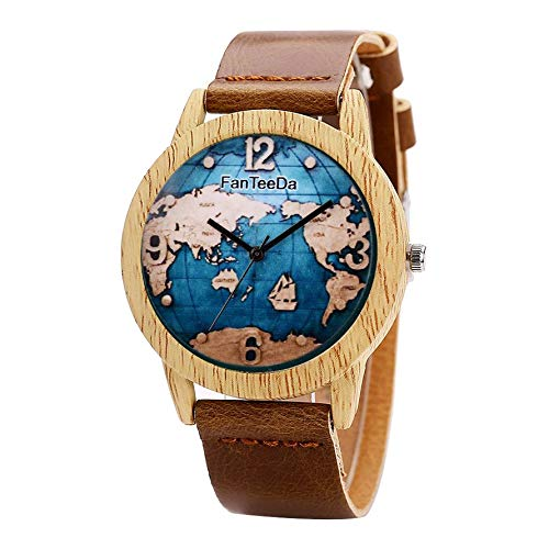 283d2f284e1f World Map Pattern Women Watches Wooden Round Dial Quartz Wristwatch Female  Ladies Wrist Watches Best Gift