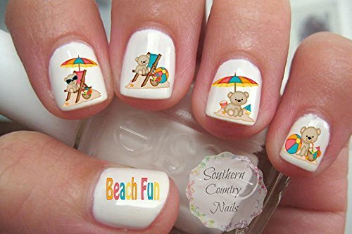Summer Beach Bears Nail Art Decals by Southern Country Nails