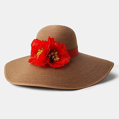 qz Chapeau de Soleil Chapeau de dames Summer Seaside Sunbath Hood Capuche de plage pliable ( Couleur : Sombre Couleur Café ) Sombre Couleur Café