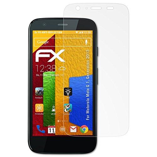 atFolix Panzerfolie kompatibel mit Motorola Moto G 1. Generation 2013 Schutzfolie, entspiegelnde und stoßdämpfende FX Folie (3X)