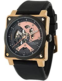 Stuhrling Original Men's Leisure Raven Diablo Automatic Skeleton Black/Rose Gold-Tone Watch - 179A.334641