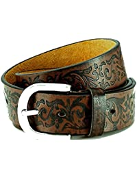 Leather belt with PU coating, brown, used look with great embossing, can be shortened by screwed buckle, unisex