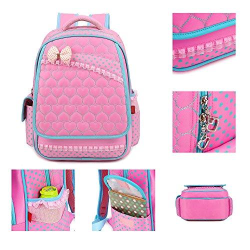 KINDOYO Wasserdichter Rucksack für Kinder Unisex Schultaschen Jungen Mädchen für Reisen, Wandern, Sport Pink Schmetterling