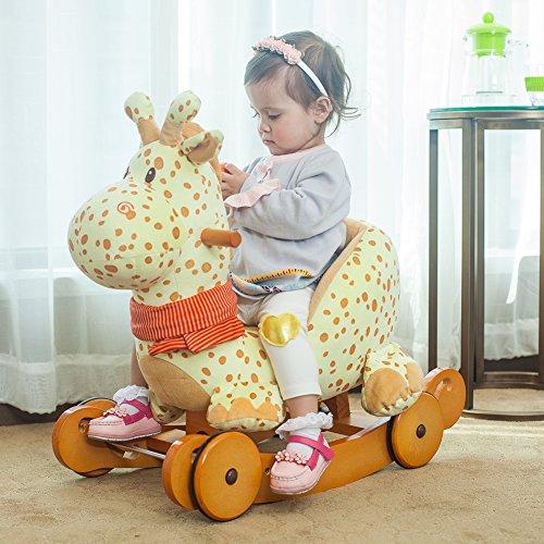 hessie pl sch schaukelpferd dual use giraffe mit r der baby. Black Bedroom Furniture Sets. Home Design Ideas
