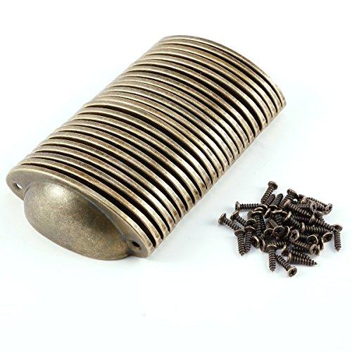 Neue 24x Küche Schrank Tasse Schublade Möbel Shell Pull Eisen Griff + Schrauben messing (Tasse Küche Pulls)