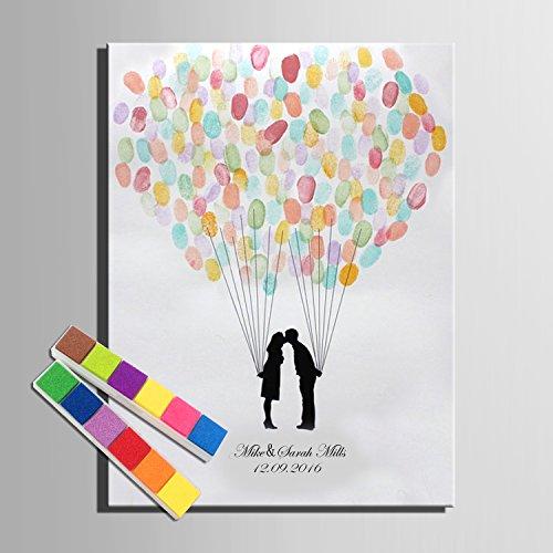 Lienzo de huellas dactilares firma los amantes de los globos árbol árbol de boda regalo de bodas Decoración de la boda fiesta regalo boda nombre (incluye 12colores de tinta), 35x50cm