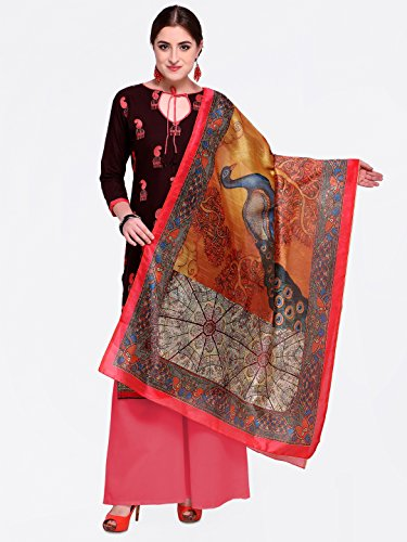 Kimisha Brown Heay Embroidered And Fancy Border With Printed Dupatta