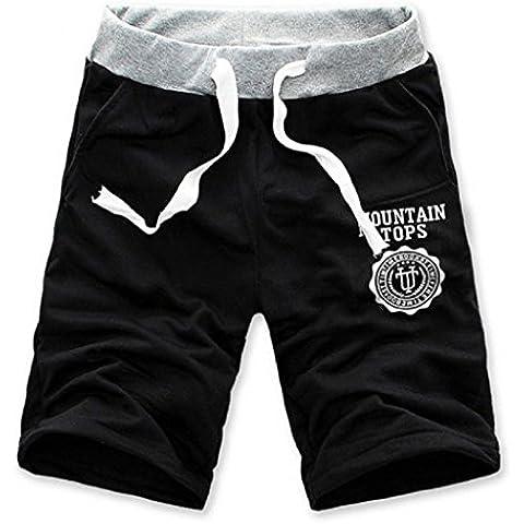 Sannysis® Moda Hombre de algodón Pantalones cortos Gimnasio Sport Jogging Pantalones (negro, L)