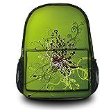 Luxburg Design Multifunzione Zaino Casual Di Scuola , Motivo : Groviglio fiori su sfondo verde