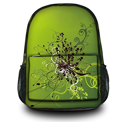 Luxburg® Design Rucksack Multifunktionsrucksack Ranzen Schulranzen Sporttasche Backpack Blumenornament auf Grün