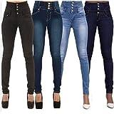Se?oras de las mujeres atractivas de talle alto jeans ajustados estiramiento de la pierna Jegging