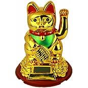 HAAC Solar Winkekatze Katze GLÜCKSKATZE Glücksbringer 16 cm Farbe gold / rot