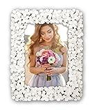Idealtrend Blumen Bilderrahmen Weiß 13x18 cm 20x25 cm Blumen Motiv Foto Rahmen Porträt: Format: 13x18