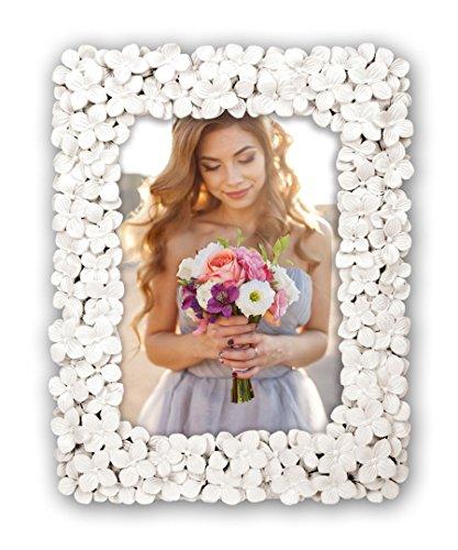 Idealtrend Blumen Bilderrahmen Weiß 13x18 cm 20x25 cm Blumen Motiv Foto Rahmen Porträt: Format: 13x18 (Blumen-bilderrahmen)