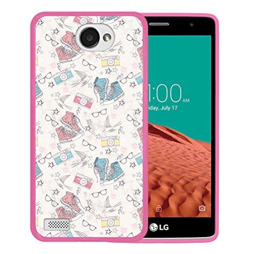 WoowCase LG X150 Bello 2 Hülle, Handyhülle Silikon für [ LG X150 Bello 2 ] Schuhe Kamera Brille Stern Handytasche Handy Cover Case Schutzhülle Flexible TPU - Rosa