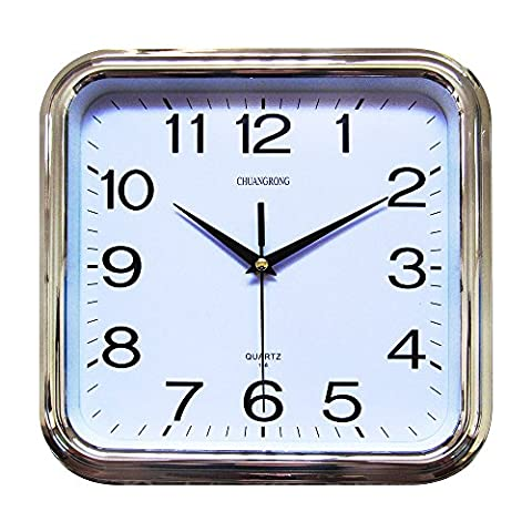 Wall Clock, Chuang Rong Square Controlled Non ticking Silent Sweeping