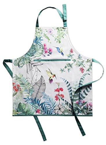 Maison d' Hermine Tropiques 100% Baumwolle Schürze mit verstellbarem Hals und versteckter Mitteltasche 70 cm x 85 cm -