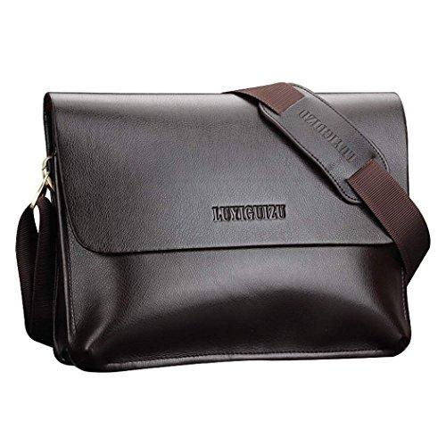 CRAVOG Männer Handtasche Leder Briefcase Schultertasche Aktenkoffer Business Tasche
