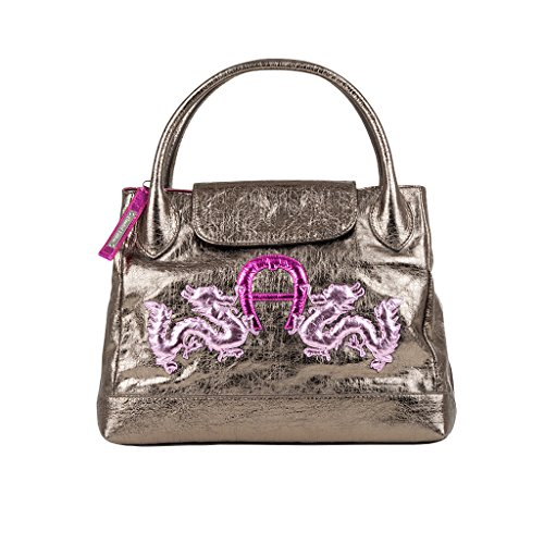 aigner-leder-handtasche-grey-gold