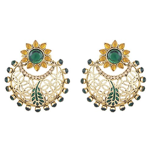 Shining Jewel Tradtional Green & Gold Chand Bali Earring (SJ_145)  available at amazon for Rs.157