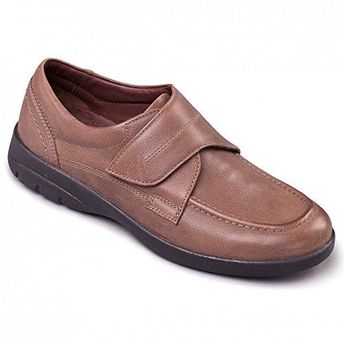 Padders–Solar da uomo in pelle con chiusura in velcro extra largo g/h comfort scarpe tortora Marrone (Marrone)