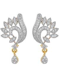 JFL - Fusion Ethnic One Gram Gold Plated Cz American Diamond Designer Earring For Women & Girls