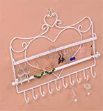 Price Xes Schmuckständer, Vintage-Design, zum Aufhängen, für Ohrringe, Halsketten, Schmuckständer, Metallbügel weiß