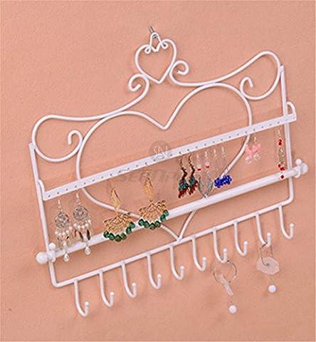 Metall Hänger Jewelry Display Vintage Organizer–Klasse Jewelry Kleiderbügel Haken Wandhalterung Aufhängen Ohrring Halter Halskette Schmuck Ständer Rack–Preis XES weiß