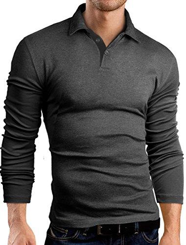 Grin&Bear Coupe Slim Contrast Polo Tee Shirt, Manches Longues, Gris foncé-Noir, M, GB160