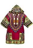 Lofbaz Unisex Dashiki Tradicional de África Camisa Hippy Design #1 Burdeos L