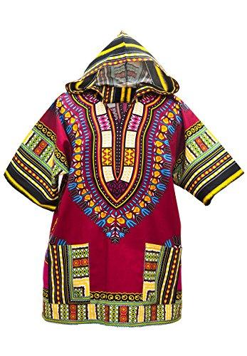 Lofbaz Unisex Dashiki Tradizionale Africana Hippy Boho Design #1 Bordeaux M