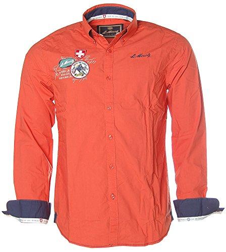 St. Moritz Herren Langarm Hemd Shirt Button-Down Kragen Alpine Ski World Cup Orange M