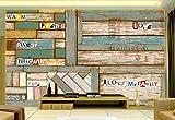 HONGYUANZHANG Kreative Streifen Aus Holzmaserung Tapete Des Foto-3D Künstlerische Landschafts-Fernsehhintergrund-Tapete,24Inch (H) X 32Inch (W)