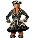 Cosfun Damen Queen Pirate Suit Halloween-Kostüm Lead Tänzerin Kleidung Anime Dämon Uniformen Spaß Cosplay Kleid Hut Brille Set