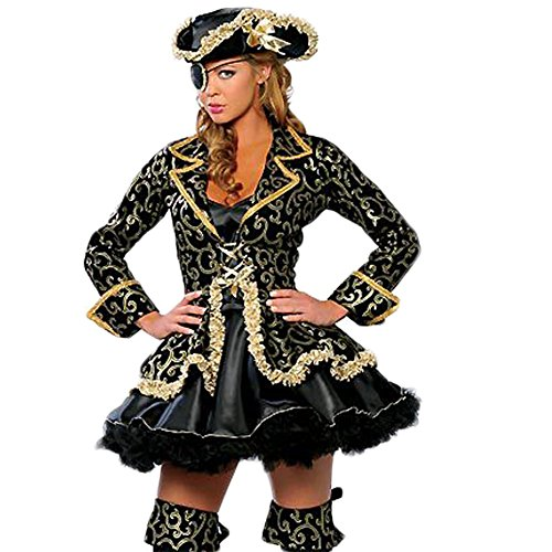 Erwachsene Für Kostüm Queen Pirate - Cosfun Damen Queen Pirate Suit Halloween-Kostüm Lead Tänzerin Kleidung Anime Dämon Uniformen Spaß Cosplay Kleid Hut Brille Set
