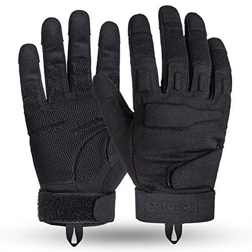 FREETOO Verstärkte Taktische Handschuhe mit PU-Leder + Nylon Design-Ideen für Fahrradfahren, Schießen, Fahren und andere Outdoor-Aktivitäten (Schwarz) - 2