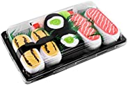 SUSHI SOCKS BOX - 3 pairs Tamago Salmon Cucumber Maki - Funny GIFT! Original Pattern, COTTON RICH Socks
