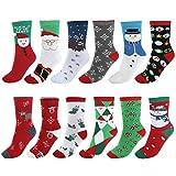 Faleto 12 Paare Mix Design Damen Mädchen Weihnachtssocken Weihnachtsmotiv Weihnachten Socken Festlicher Cotton Socken Christmas socks aus Baumwolle für EU Gr.35-38