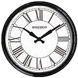 Retro Wanduhr Vintage wetterfest Metall beschichtet 42 cm Durchmesser glanz schwarz - wunderschöne Wanduhr im Vintage Bahnhof Stil - Premium Verarbeitung aus unserer neuen Serie Uhren wetterfest für innen und aussen - TWC Warenhandel Plus Garden Clocks (Monument Station 42 cm (17))