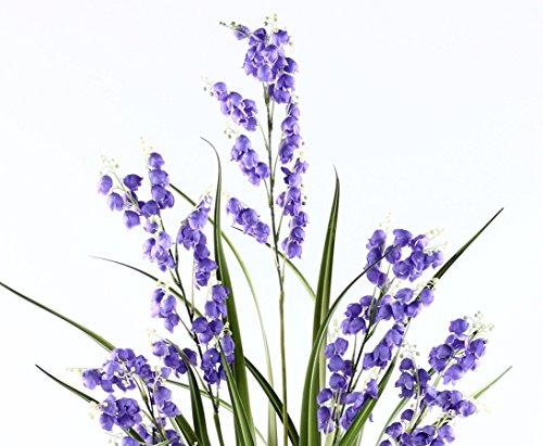 Glocken Kunstblume mit lila Blüten und Gras im Topf 105cm – Kunstpflanze Kunstbaum künstliche Bäume Kunstbäume Gummibaum Kunstoffpflanzen Dekopflanzen Textilpflanzen