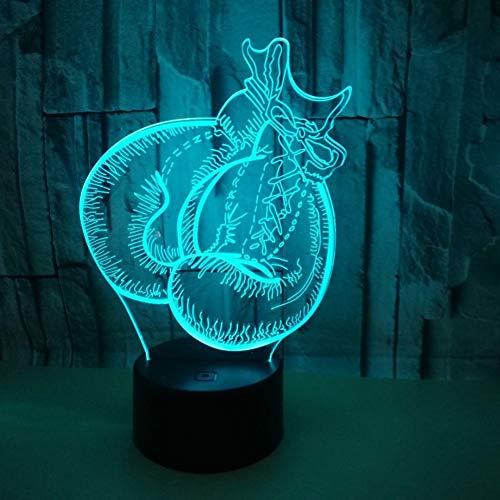 Likaxyd 3D Illusion Lampe Led Nachtlicht,Mit 7 Farben Flashing & Touch-Schalter Usb Powered,Geben Sie Ihrem Kind Das Beste Geburtstagsgeschenk Und Weihnachtsgeschenk-Boxhandschuhe