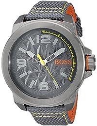 BOSS Naranja Hombre 'Nueva York' cuarzo resina y lienzo Casual reloj, color: gris (modelo: 1513344)