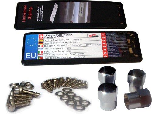 EDELSIGN - Kurz-Kennzeichenhalter Mod. EVEN 460 SET (2 Stück) - TOP Qualität, auch für gebogene Stoßstangen geeignet, inkl. 4 x Chrom Ventilkappen und Edelstahl Befestigungsmaterial. Passend für alle Kurz Kennzeichen 46 x 11 cm - Anhänger-reifen-halter