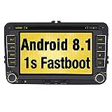Pumpkin Android 8.1 Autoradio DVD GPS pour VW Golf, touran, Jetta, Polo, Passat Ecran Tactile 7 Pouces RAM 2Go supporte Bluetooth USB SD WiFi 3G Commande au Volant RDS Radio OBD2 Dab+