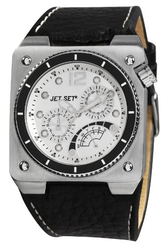 Jet Set J31723-647Rio De Janeiro–Watch Men–Quartz–Analogue–Black Leather Strap Silver Dial