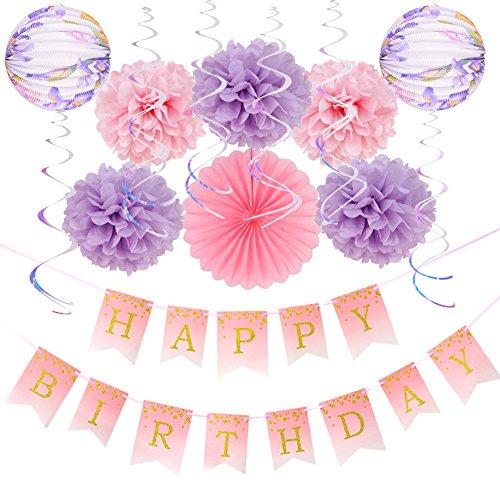 stag Dekoration Happy Birthday Banner Pompoms Lila Papier Laternen ()