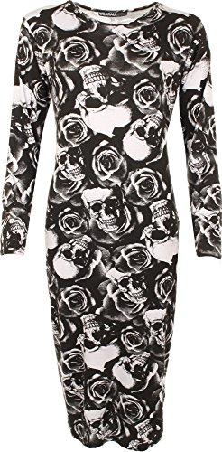 WearAll - Mujer Vestido Ajustado Print - Calavera Rosas - 44-46