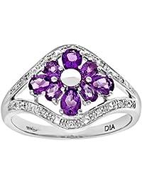 Naava Women's 9 ct White Gold Amethyst and Diamond Flower Ring