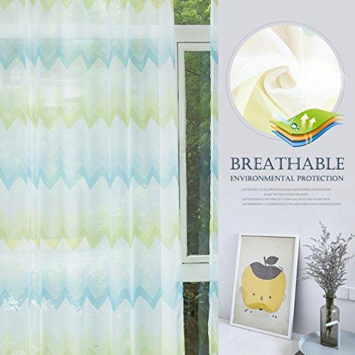 Kinlo 2 pannelli tende tulle trasparenti 145 x 245 cm 100% poliestere tenda decorativo tenda di lino in velluto a motivi ondulati - verde giallo